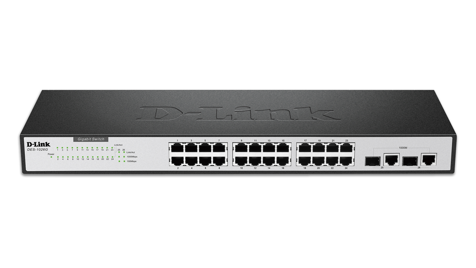 24-Port Fast Ethernet Switch with 2 Gigabit Ports (DES-1026G) | D-Link