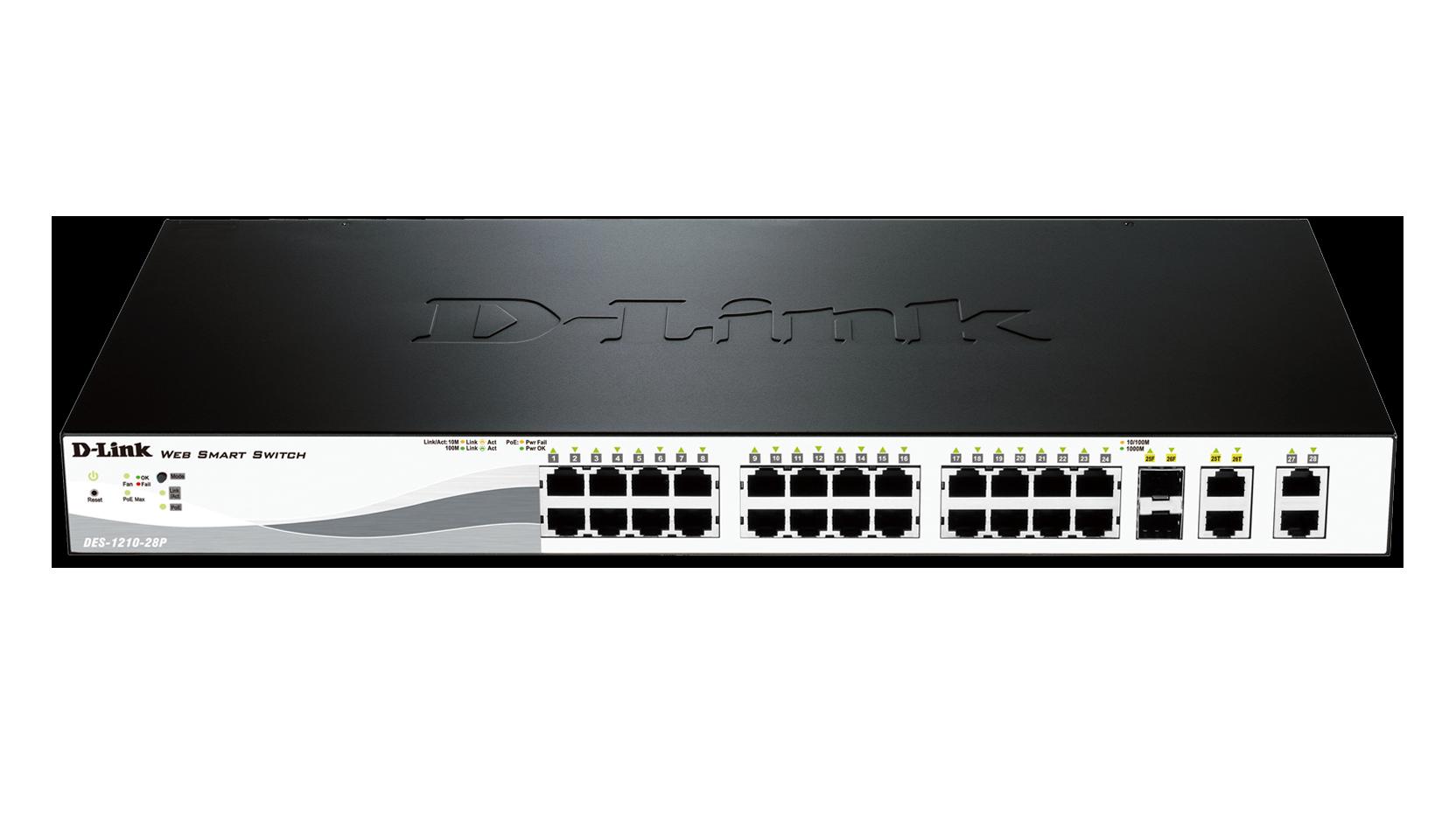 Web Smart 28 Port Fast Ethernet Poe Switch Des 1210 28p D Link 2 Way Datasheet