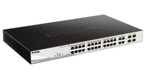24-Port Gigabit Smart Managed PoE Switch with 4 Gigabit RJ45/SFP COMBO ports, 193W PoE Budget