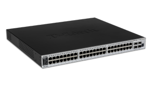 44-Port Gigabit xStack Managed L2+ Stackable switch, 4 Gigabit Combo BASE-T/SFP ports, 2 10G Module Slots