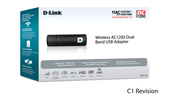 Wireless AC1200 Dual Band USB Adapter (DWA-182) | D-Link
