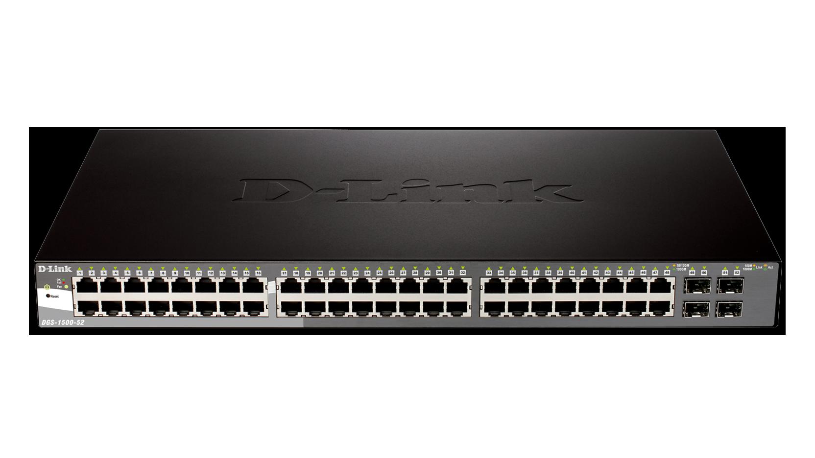 52 port gigabit smartpro switch including 4 sfp ports dgs. Black Bedroom Furniture Sets. Home Design Ideas